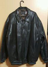 KARL KANI Black   Leather Bomber Jacket . Size 4XL SIGNATURE