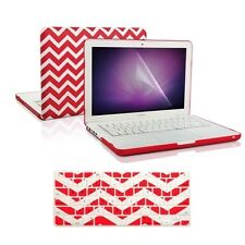 """Matte Chevron RED Hard Case + Keyboard Cover + LCD for Macbook White 13"""" A1342"""