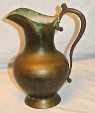 Antique? Old Vtg Well Made Brass/Bronze/Pitcher/Vase/Verdigris Patina-8.25""