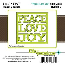 DIE-VERSIONS Universally Crafty Cute Cubes PEACE LOVE JOY die DVCC-007