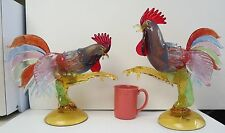 Large Pair Of Murano Art Glass Signed Formia Very Colorful Roosters