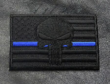 SKULL SWAT POLICE LAW ENFORCEMENT THIN BLUE LINE USA FLAG PUNISHER HOOK PATCH