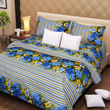 DreamDecor Designer Cotton Double Bed Sheets + 2 Pillow Covers - Blue Stripe