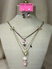 NWT Betsey Johnson Set Kitty Locket Necklace Mouse Earrings Cat Lover Gift NEW