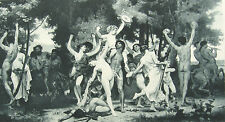 NAKED NUDE WOMEN GIRLS & BACCHUS WINE GOD ORGY ~ Old 1893 Sexy Erotica Art Print