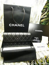 NEW BOX LONG CHANEL BLACK WALLET / CLUTCH FLAP QUILTED NEW
