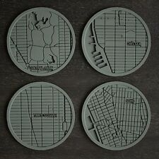 Design Ideas NYC New York City Urban Drink Coasters set of 4 gray/grey silicone