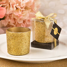 50 - Bling Collection Gold Glitter Votive Candle - Wedding Party Favor