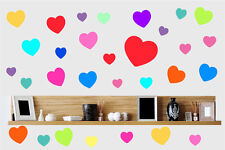 Colourful Hearts 30 Pack Wall Art Stickers Pink Purple Red Decal Love Decals
