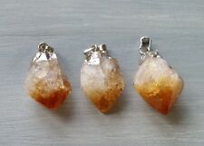 Raw Citrine Point Pendant Silver Gemstone Specimen Reiki Chakra Crystal Heal.One
