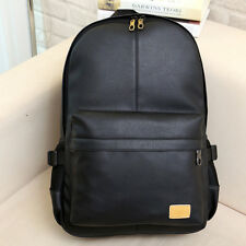 Fashion Men Women PU Leather Backpack Black School Shoulder Book Laptop Bags