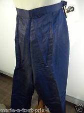 LUCIA SPAGNOLI COUTURE LUXE PANTALON LIN IT 48 FR 44 BLEU PETROLE DEFILE DE MODE