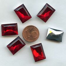116**6 CABOCHONS ANCIENS CRYSTAL FOND CONIQUE RECTANGLE 16X12mm ROUGE X6