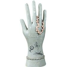 Aqua Hand Jewelry Stand with Botanical Print, Prettier than a Vintage Glove Mold