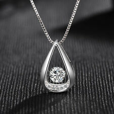 Water Drop Pendant 925 Sterling Silver Necklace Womens Jewellery Valentine Gifts