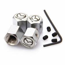 Mazda White Anti theft Metal Chrome Tyre Valve Dust Cap