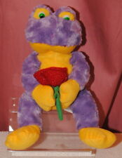 "KELLYTOY 15"" Purple & yellow frog with rose soft / plush / stuffed toy"