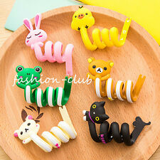 2PCS Silicone Animal Headphone Headset Cord Winder Wire Holder Organizer Random