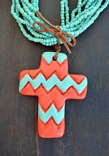 Cowgirl Bling Clay CROSS CHEVRON Turquoise Bead Gypsy BOHO necklace