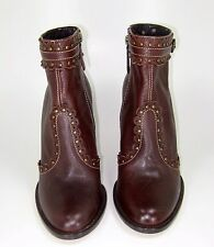 MOSCHINO CHEAP AND CHIC Brown Leather Studded Bootie Size 38.5 NWOB