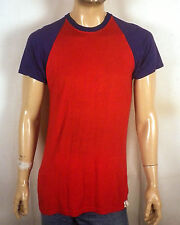 vtg 60s 70s Powers two tone Red / Blue Classic Raglan Durene T-Shirt Jersey M/L