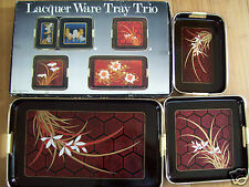 Rare 1983 Lacquer Ware Tray Trio 3 Pcs Set By Artmark Chicago New In Box Japan