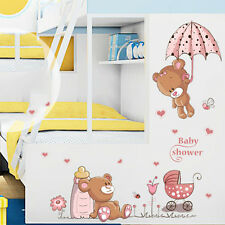 New Removable Cute Bear Nursery Girl Baby Children Art Decal Wall Sticker