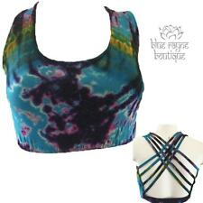 Soft Sexy Viscose Rainbow Tie Dye Cage Back Yoga Exercise Bra Small Medium SM04