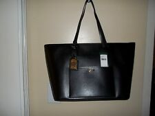 NIP Ralph Lauren Lowell Classic Tote TT Black Leather Large Handbag $278