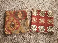 RARE Pottery Barn Kilim Dhurrie Pillow Covers Set of 2 HFT EUC 18 x 18 WOOL