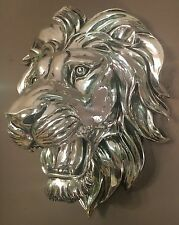 LARGE High Shine Silver Lion Head Bust Wall Art Sculpture Vintage Retro NEW