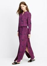 NWT $424 VINCE Purple Silk V Neck Drawstring Maxi Long Dress -S Small (2-4-6)