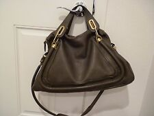 Chloe Large Paraty toupe Leather Satchel Bag purse 2 way w/dustbag $2500+