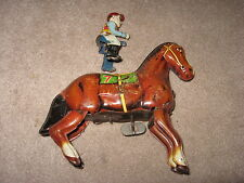 Vintage RACE HORSE with RIDER Tin Wind Up Toy