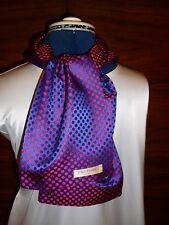 100% woven silk men's cravat/scarf Blue/red polka dots  NEW