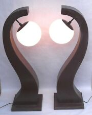 """Pair Mid Century Modern Brown Sculptural Lamps With White Milk Glass Globes 34"""""""