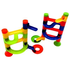 Funny Marble Race Run DIY Construction Kids Toy Game Maze Buliding Block Tower