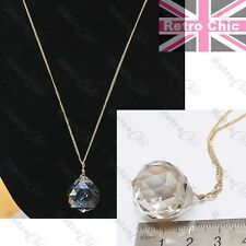 BIG FACETED CRYSTAL DROP PENDANT long fine gold fashion chain NECKLACE glass orb