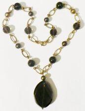 collier bijou vintage perle verre porcelaine noir quartz fumé couleur or * 4037