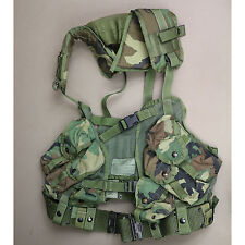 3961 US GI Issue Tactical Load Bearing Vest LBV Woodland Camo & Pistol Belt Med