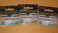 3 packets of fox series 5 match super eyed carbon hooks - barbless 20s
