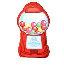 16 x 9  inch GUMBALL MACHINE throw pillow candy dispenser red plush green pink