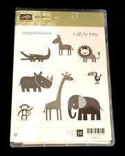 Stampin Up ZOO BABIES Stamp Set BABY Elephant Giraffe Lion Monkey Bird Rhino