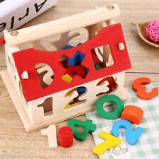 Wooden Building Blocks House Toy House Digital Number Children Intellectual New