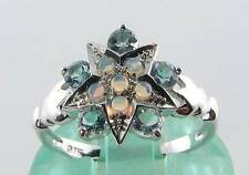CLASS 9CT WHITE GOLD AQUAMARINE & OPAL SUN STAR MOON RING FREE SIZING