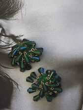 ORECCHINI A CLIP GRAPPOLO PERLINE VERDI ANNI 70 vintage earrings J5