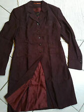 PAUW womens distressed wine red silk trench coat jacket vampire etro dracula S