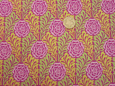 Quilting Fabric Pink Tudor Rose Green Yellow Leaves 100% Cotton Fat Quarter