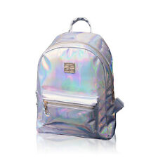 Women Girls Hologram Holographic Backpack PU Leather School Gammaray Bag Silver