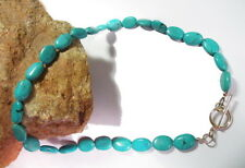 """Stunning Large 18"""" Genuine Turquoise Bead Sterling Silver Necklace! Classic!"""